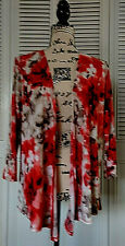 Easywear by Chicos Red Gray Black Light Weight Drape Open Front Cardigan Size 1