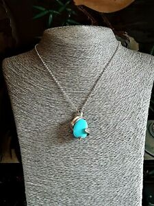 Vintage Sterling Silver Turquoise Pendant Belcher Chain Necklace