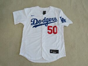 LA DODGERS #50 BETTS Stitch White Flex Fit Jersey Men L NEW Sweet^