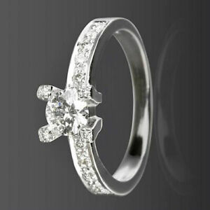 DIAMOND SOLITAIRE & ACCENTS RING 0.8 CT 18K WHITE GOLD ROUND SHAPE 4 PRONGS