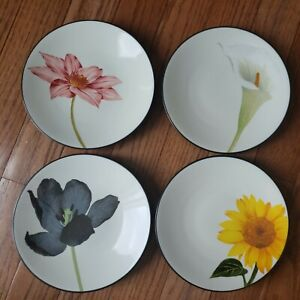 "NWT Set 4 Noritake Colorwave Graphite Floral Appetizer Bread Plates 6.25"" 8034"