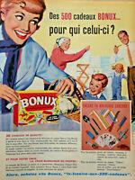 PUBLICITÉ DE PRESSE 1961 BONUX - 500 CADEAUX DE QUALITE - DINA PANHARD - FLORIDE