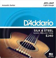 3 sets D'Addario EJ40 Silk and Steel Folk Acoustic Guitar Strings - .011-.047