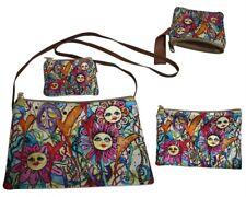 Hippie Boho Bohemian Coin Purse Makeup Stash Bag Pouch 4 piece set Flower Power