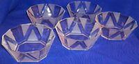 """Set of 5, Vintage WP & G Chancellor Crystal 5 1/2"""" Individual Bowls, With Box"""