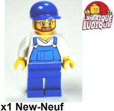Lego Figura Minifig Recolectores + Peto Azul Mecánico Barba Cap cty0268 Nuevo
