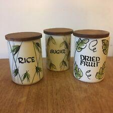 Vintage Geoffrey Maund Studio Wear Hand Painted Rice Sugar Store Jars 1960s x 3