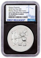 2018 Niue Mickey Mouse 90th UHR 2 oz Silver $5 NGC PF70 UC FR Blk Core SKU54551