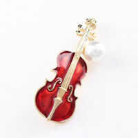 Gift Violin Shape Pearl Clothes Accessories Brooch Pin Jewelry Lapel Pin