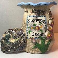 Blue Sky Heather Goldminc Snap Dragon Seeds Ceramic Sculpture Flower Utensil Pot