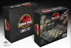 Jurassic Park Chess Set 32pc Dinosaur Board, The Noble Collection Gift Set