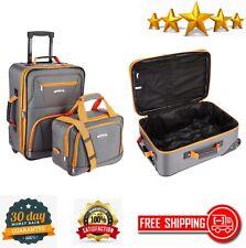 2 Piece Luggage Set Fashion Softside Upright Charcoal Carry On Travel Flight