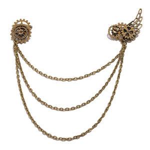 Victorian Steampunk Wing Gear Chain Breast Pin Alloy Bronze Brooch Pin Lapel Pin