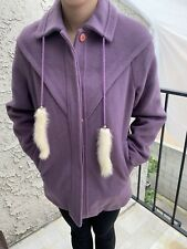 Vintage Purple Wool Coat With Faux Fur Size M-L