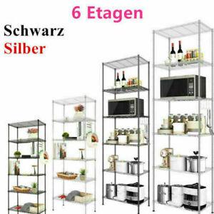 Standregal Mikrowellenhalter Küchenregal Regal Eisen Küchenschrank 6 Böden