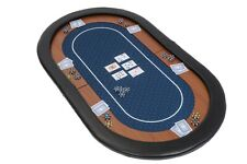 Champion Folding Poker Table Top in Blue Suited Speed Cloth 153cm Leather Rest