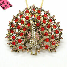 Red Peacock Betsey Johnson  Pendant Necklace I65