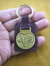 (Md50-C) Ram Big Horn bighorn Sheep head Bronze Medallion Leather Key Ring