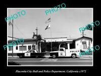 OLD LARGE HISTORIC PHOTO OF PLACENTIA CALIFORNIA THE POLICE STATION c1972