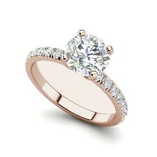 Cut Diamond Engagement Ring Rose Gold Classic Pave 1.2 Carat Vs1/H Round