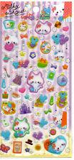 Milky Shy Cat Thick Raised PVC Stickers Sticker Sheet Kawaii Stationery Penpals