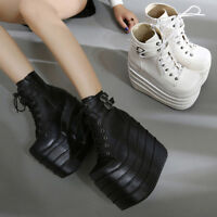 Women's Wedge High Heels Solid Platform Ankle Boots Creepers Lace Up Shoes Size