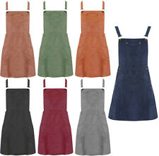 NEW Women 80'S PINAFORE Skater Bib DRESS Fake SUEDE A Line Dungaree Size 6-16 UK