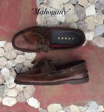 Leather Classic Boat Shoes for Men - Mahogany - Size 45 / 12