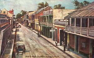 Vintage Postcard 1910s Business Section in Ponce Porto Rico Tuck's Oilette