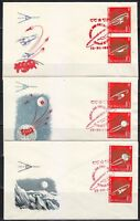 Russia 1963 FDC covers Sc 2830-2835 Soviet achievements in space Mi 2852-2857