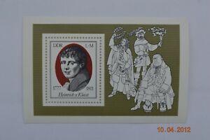 """East Germany 1977 """"200th Birth Anniv  Heinrich von Kleist"""" Minisheet S.G.MSE1982"""