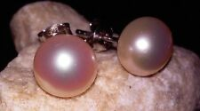 JTV REAL 925 SS IVORY WITH PEACH TINT 10mm Cult Freshwater Button Pearl Earrings