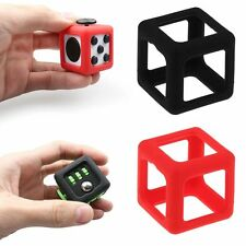 For Fidget Cube Stress Relief Focus Toy ABS Protective Cover Case Black & Red