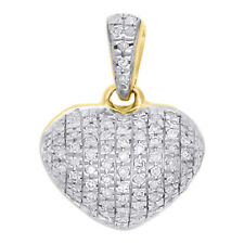 """10K Yellow Gold Real Diamond Heart Shaped Dome Pendant 0.60"""" Fancy Charm 0.16 CT"""