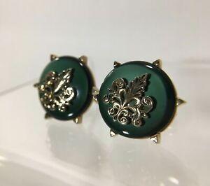 Vintage Swank Ornate Fleur de Lis Green Agate Cabochon Cufflinks | Gold Tone C1