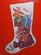 "Vtg Dimensions CHRISTMAS TEDDY BEAR 18"" Stocking Wool Crewel Embroidery Kit"