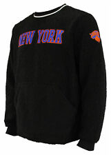 FISLL NBA Men's New York Knicks Moto Sherpa Crew Neck Sweatshirt