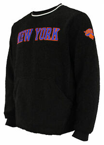 FISLL NBA Men's New York Knicks Moto Sherpa Crew Neck Sweatshirt