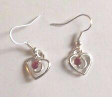 Boucles d'oreilles argentées coeur strass rouge 14x12mm