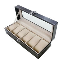 Watch case Leather watch box Jewelry box Gift for men (6 compartments - Bla U2H3