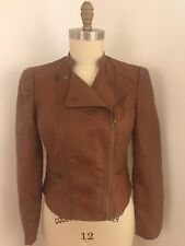 J W Style Brown Faux Leather Motorcycle Jacket Size Medium