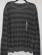 Marc Anthony Mens Sz  XXL Sweater Slim Fit Long Sleeve Brown Gray Stripe $65 NWT