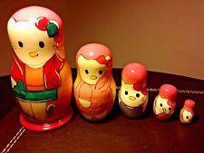 Hello KITTY Matriosca Russe a MATRIOSKA bambole in legno Set 5pc