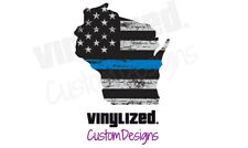 Back Thin Blue Line Wiscosin Police Officer Support Vinyl Sticker Decal LEO TBL