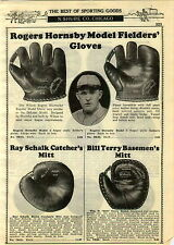 1929 PAPER AD Rogers Hornsby 3 Finger Wilson Baseball Glove Bill Terry Ra Schalk