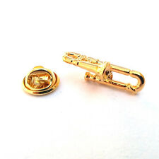 Gold Plated Trombone LAPEL PIN BADGE Music Instrument Player Present Gift Box