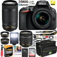 Nikon D5600 DSLR Camera 18-55 VR + 70-300 2 Lens Warranty Case Accessory Bundle