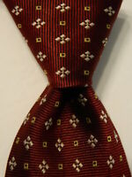 "E. MARINELLA NAPOLI Mens Silk XL 66"" Necktie ITALY Luxury Geometric Burgundy EUC"