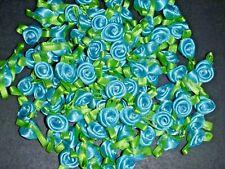 50 Satin Ribbon Roses -Aqua-Sewing Bow Craft- New