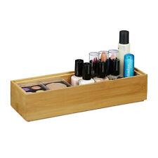 1 x Ordnungsbox Bambus, Aufbewahrungsbox Bad, Stapelkiste 23x7,5cm, Bambuskiste